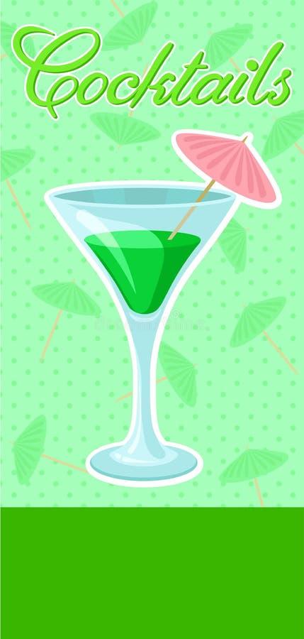 Κοκτέιλ Creen με την ομπρέλα martini στο έμβλημα γυαλιού, το θερινό ποτό, το ιπτάμενο εορτασμού κομμάτων κοκτέιλ, την πρόσκληση ή ελεύθερη απεικόνιση δικαιώματος