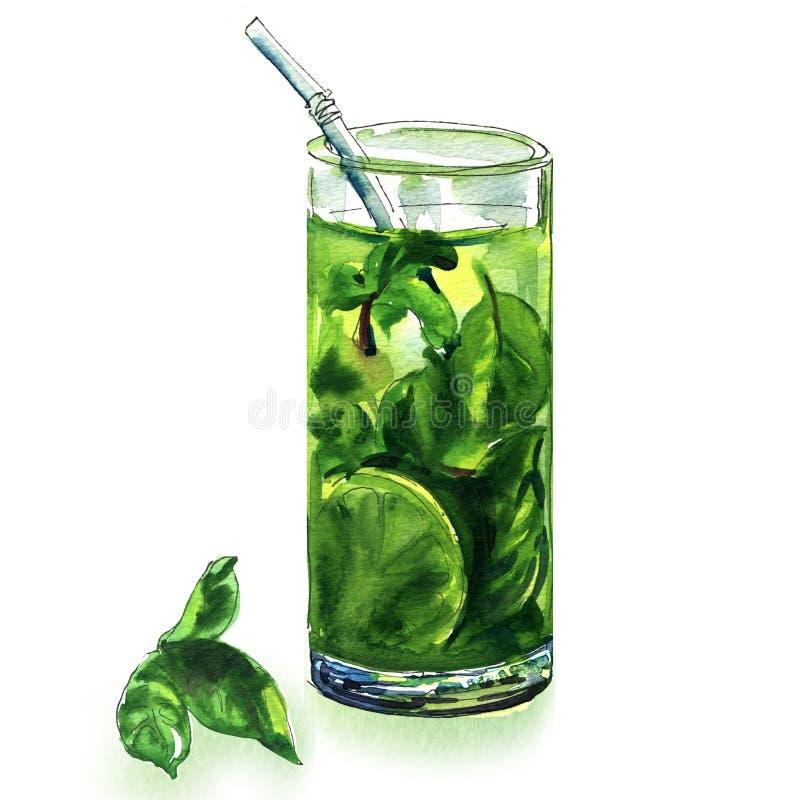 Κοκτέιλ Mojito με τον ασβέστη και την πράσινη μέντα στο γυαλί ή παγωμένο τσάι που απομονώνεται, συρμένη χέρι απεικόνιση watercolo στοκ φωτογραφίες