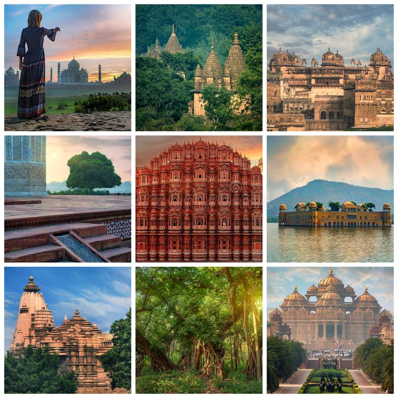 Κολάζ έννοιας ταξιδιού της Ινδίας επίσκεψης στοκ φωτογραφίες με δικαίωμα ελεύθερης χρήσης