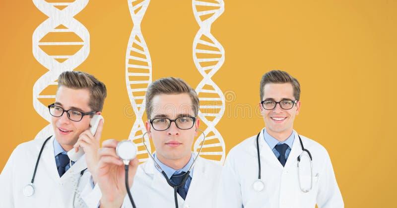 Κολάζ γιατρών που στέκεται με τα σκέλη DNA στο κίτρινο κλίμα διανυσματική απεικόνιση