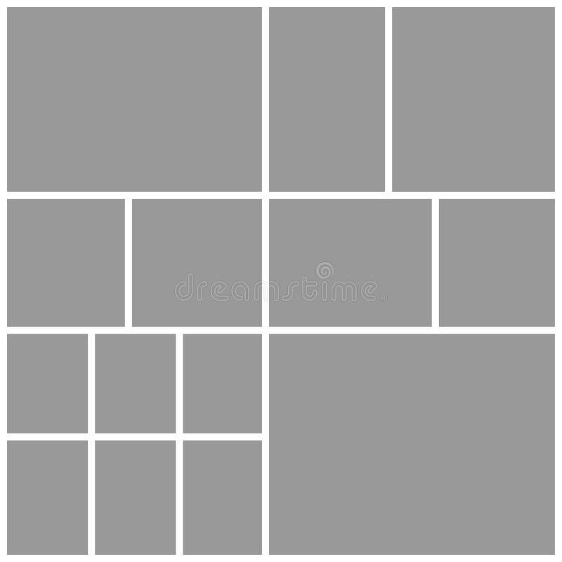 Κολάζ δεκατέσσερα πλαίσια, φωτογραφίες, μέρη ή εικόνες ελεύθερη απεικόνιση δικαιώματος