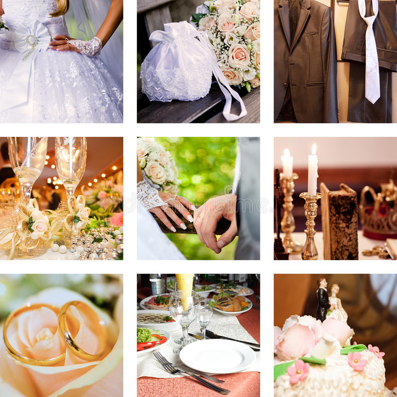 κολάζ εννέα γάμος φωτογραφιών στοκ εικόνες