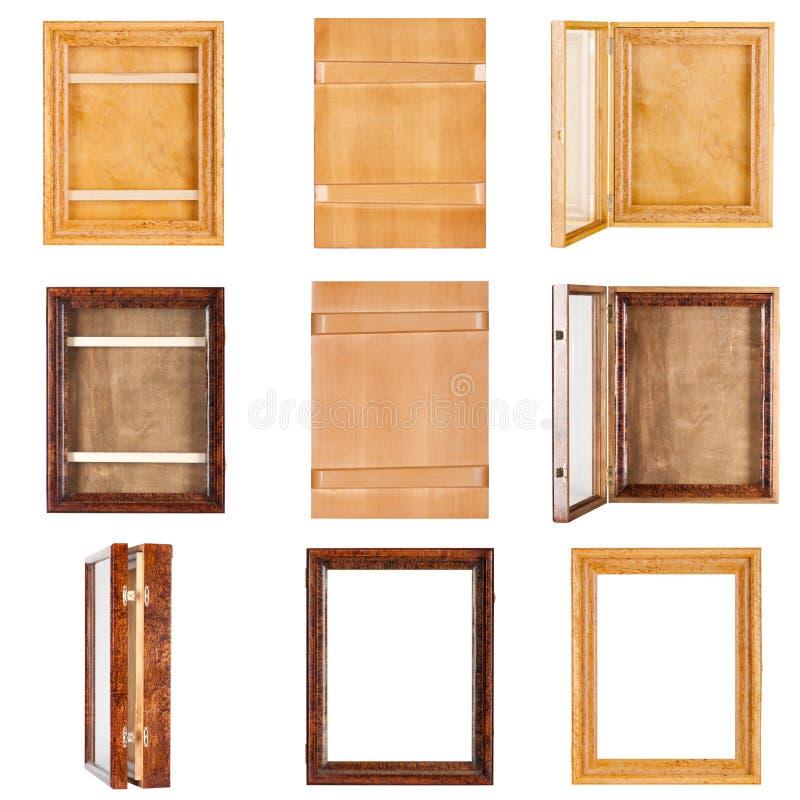 Κολάζ εννέα κενών λουστραρισμένων με λάκκα ξύλινων πλαισίων για τα έργα ζωγραφικής στοκ εικόνα με δικαίωμα ελεύθερης χρήσης