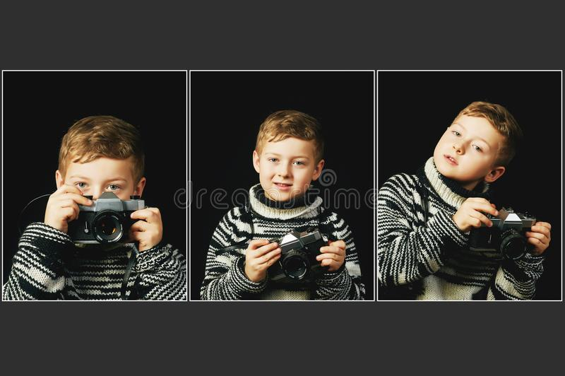 Κολάζ ενός μικρού αγοριού με μια κάμερα στα χέρια του στοκ φωτογραφία
