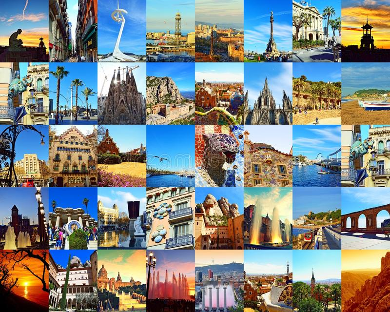 Κολάζ καρτών πόλεων ορόσημων της Βαρκελώνης στοκ εικόνες με δικαίωμα ελεύθερης χρήσης
