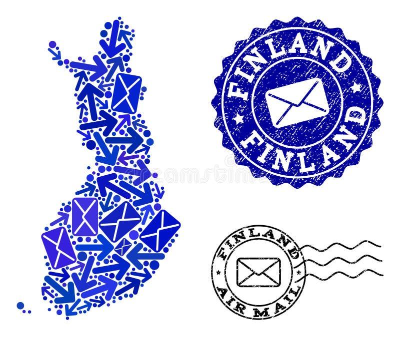 Κολάζ κυκλοφορίας ταχυδρομείου του χάρτη μωσαϊκών της Φινλανδίας και των κατασκευασμένων σφραγίδων απεικόνιση αποθεμάτων