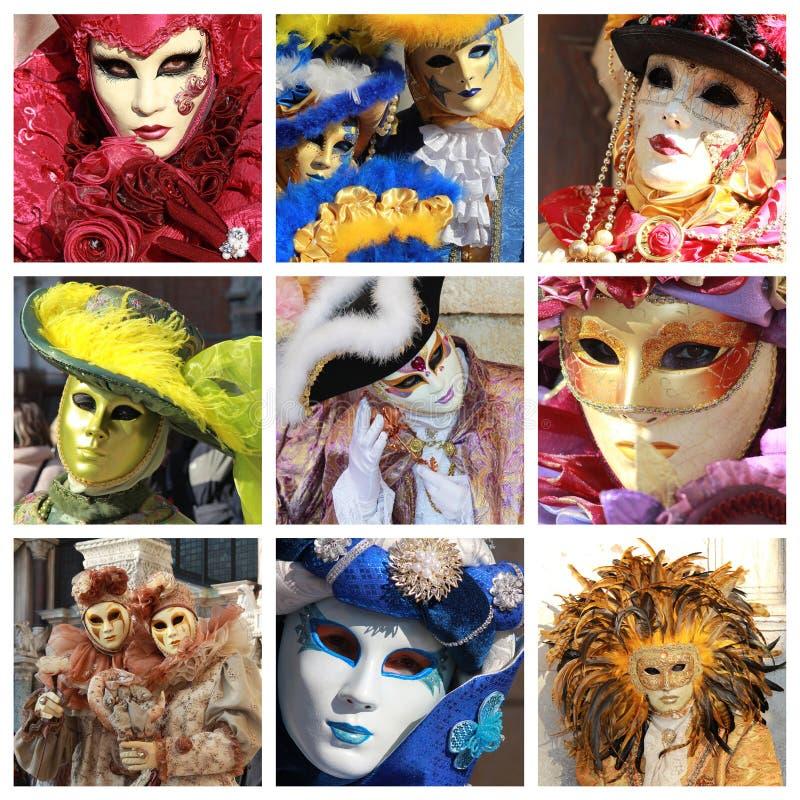 Κολάζ μασκών της Βενετίας στοκ φωτογραφίες