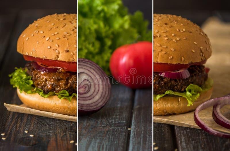 Κολάζ με σπιτικό burger σε ένα σκοτεινό ξύλινο υπόβαθρο στοκ φωτογραφία με δικαίωμα ελεύθερης χρήσης