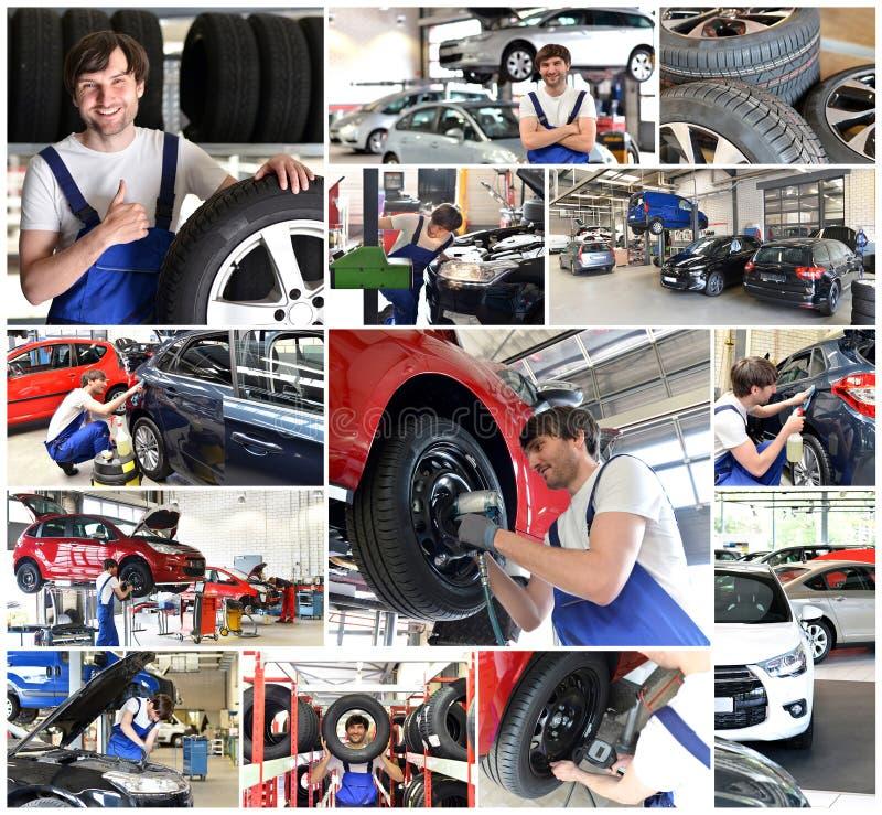 Κολάζ με τα κίνητρα σε ένα κατάστημα επισκευής αυτοκινήτων - επισκευή αυτοκινήτων, αλλαγή τ στοκ φωτογραφία με δικαίωμα ελεύθερης χρήσης