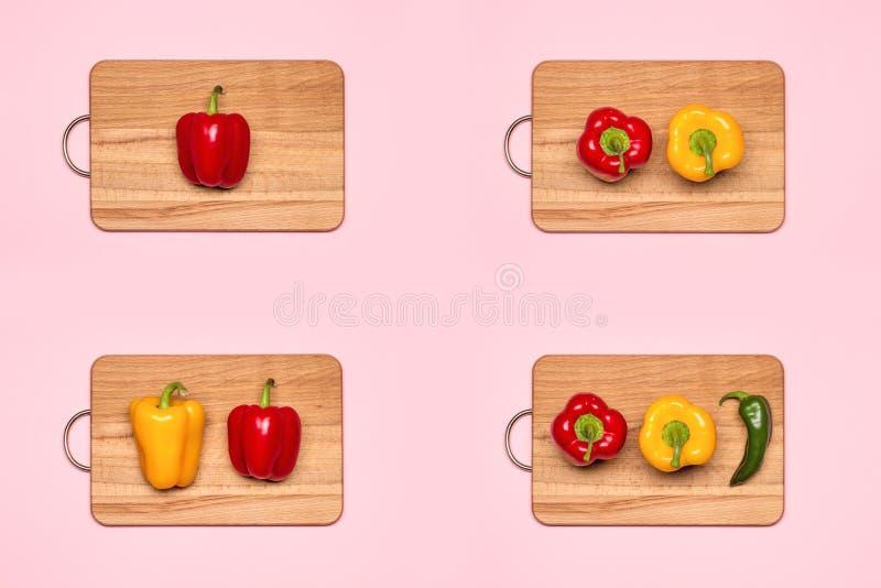Κολάζ με τα φρέσκα ζωηρόχρωμα πιπέρια κουδουνιών στοκ φωτογραφία με δικαίωμα ελεύθερης χρήσης