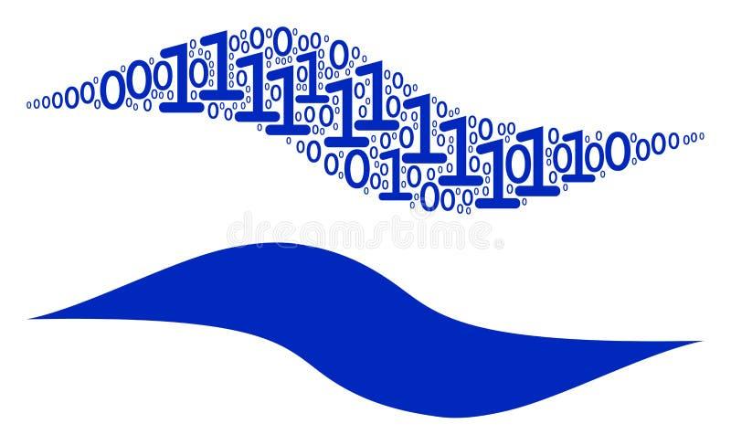 Κολάζ μορφής κυμάτων των δυαδικών ψηφίων διανυσματική απεικόνιση