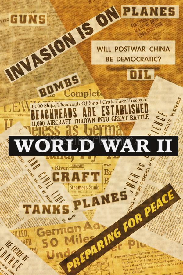 Κολάζ νέων τίτλων, ζωγραφικών και άρθρων κατά τη διάρκεια του Β' Παγκοσμίου Πολέμου στοκ φωτογραφίες με δικαίωμα ελεύθερης χρήσης