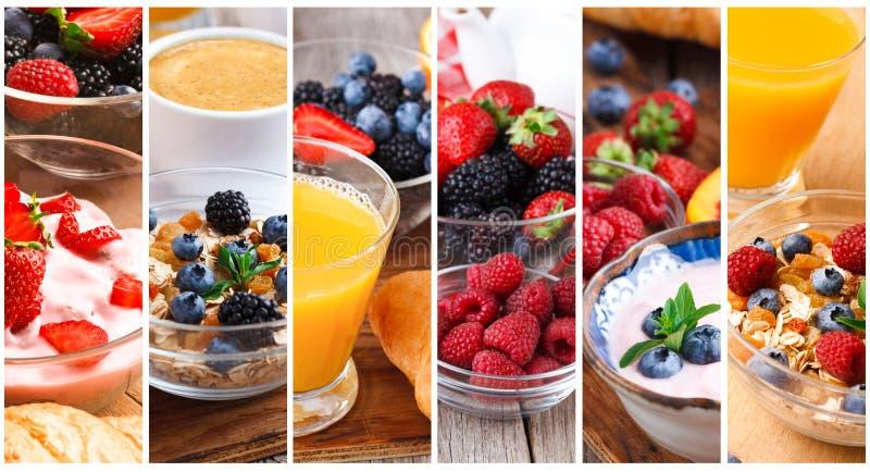 Κολάζ νόστιμο oatmeal με τα φρούτα και τα μούρα στοκ εικόνες