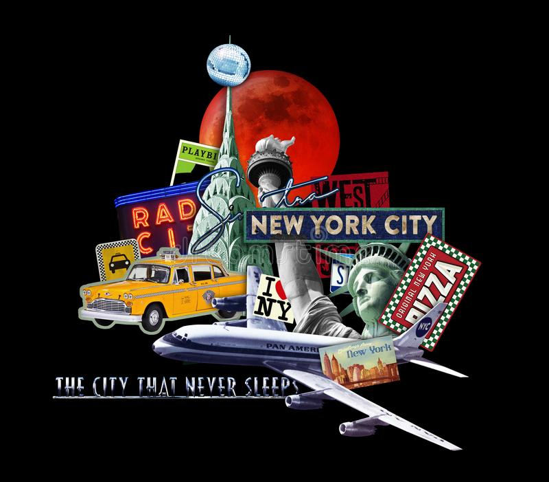 Κολάζ ταξιδιού πόλεων της Νέας Υόρκης στοκ φωτογραφίες με δικαίωμα ελεύθερης χρήσης