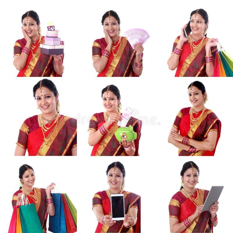 Κολάζ της νέας εύθυμης ινδικής γυναίκας με τις διάφορες εκφράσεις πέρα από το λευκό στοκ εικόνες