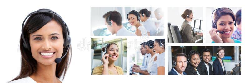 Κολάζ της ομάδας βοήθειας εξυπηρέτησης πελατών στο τηλεφωνικό κέντρο στοκ εικόνα
