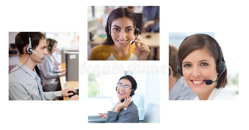 Κολάζ της ομάδας βοήθειας εξυπηρέτησης πελατών στο τηλεφωνικό κέντρο στοκ φωτογραφία