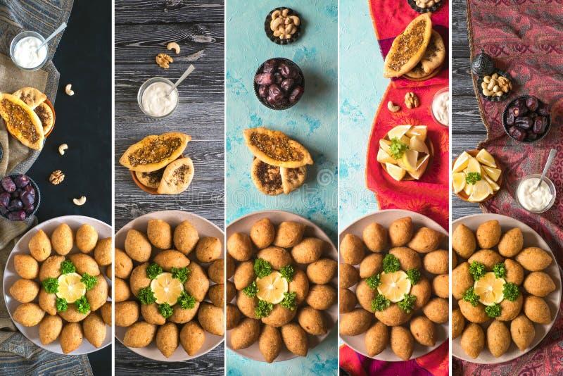 Κολάζ του αραβικού ορεκτικού Kibbeh κρέατος Παραδοσιακό αραβικό kibbeh με τα καρύδια αρνιών και πεύκων στοκ εικόνες