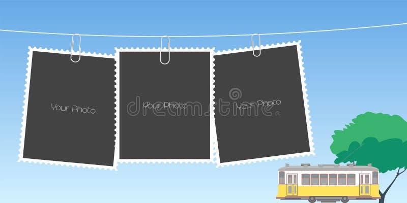Κολάζ του διανυσματικού υποβάθρου πλαισίων φωτογραφιών ελεύθερη απεικόνιση δικαιώματος