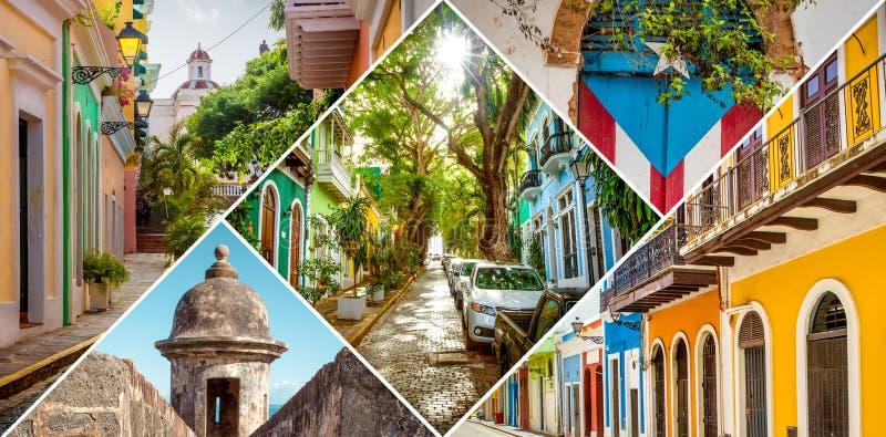 Κολάζ του παλαιού San Juan, Πουέρτο Ρίκο στοκ εικόνες