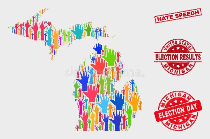 Κολάζ του χάρτη Πολιτεία του Michigan ψηφοφορίας και της σφραγίδας λεκτικών γραμματοσήμων μίσους Grunge απεικόνιση αποθεμάτων