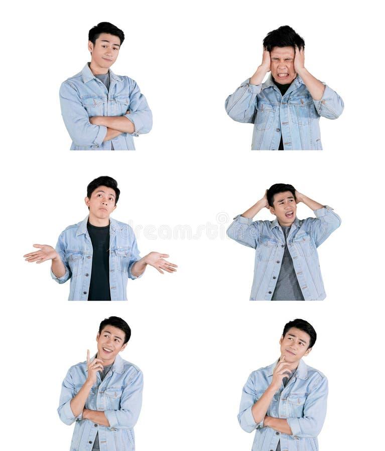 Κολάζ του όμορφου ατόμου με τις διάφορες εκφράσεις στοκ φωτογραφία