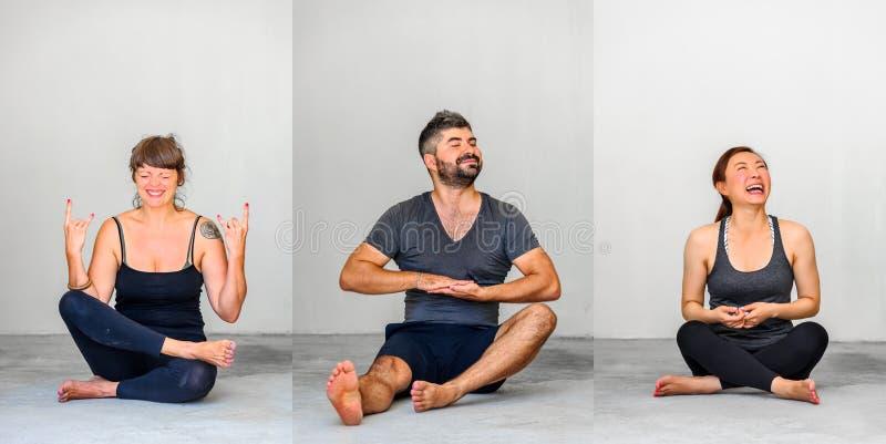 Κολάζ τριών: Οι σπουδαστές γιόγκας που παρουσιάζουν διαφορετική γιόγκα θέτουν στοκ φωτογραφία