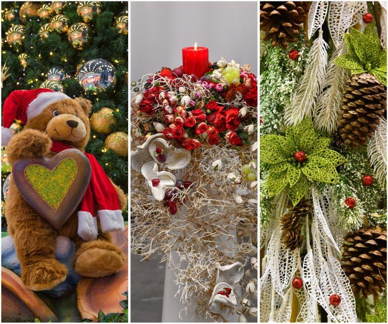 Κολάζ των διακοσμήσεων Χριστουγέννων στοκ εικόνα