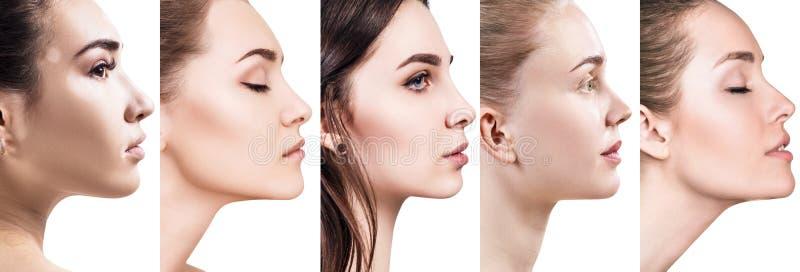 Κολάζ των διαφορετικών γυναικών κατά την άποψη σχεδιαγράμματος στοκ φωτογραφία