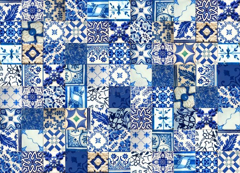 Κολάζ των κεραμικών κεραμιδιών από την Πορτογαλία διανυσματική απεικόνιση