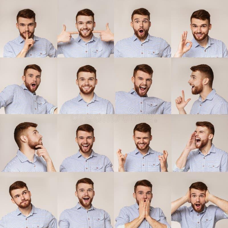 Κολάζ των νέων πορτρέτων τύπων με τα διαφορετικά emotins στοκ φωτογραφίες