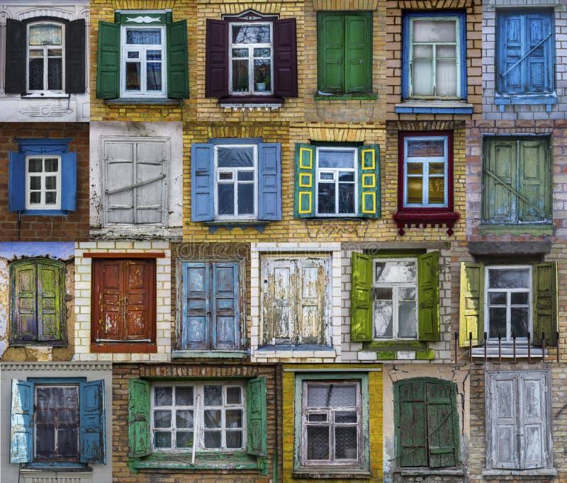 Κολάζ των παλαιών παραθύρων Υπόβαθρο των διάφορων παραθύρων στοκ φωτογραφία