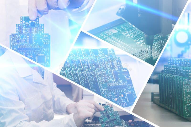 Κολάζ των πινάκων υπολογιστών με τα οπτικά αποτελέσματα σε ένα φουτουριστικό ύφος Η έννοια των σύγχρονων και μελλοντικών τεχνολογ στοκ εικόνα με δικαίωμα ελεύθερης χρήσης