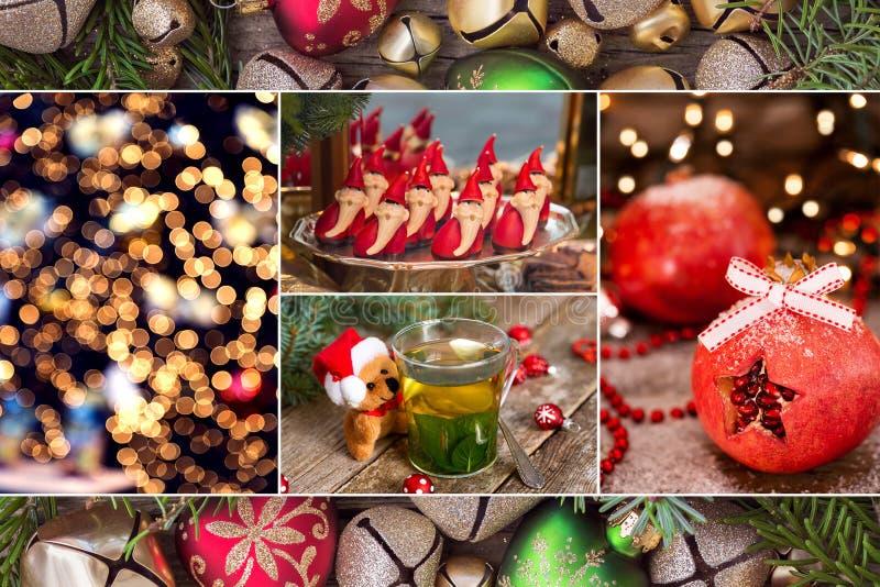 Κολάζ των φωτογραφιών Χριστουγέννων στα κόκκινα και πράσινα χρώματα στοκ εικόνες