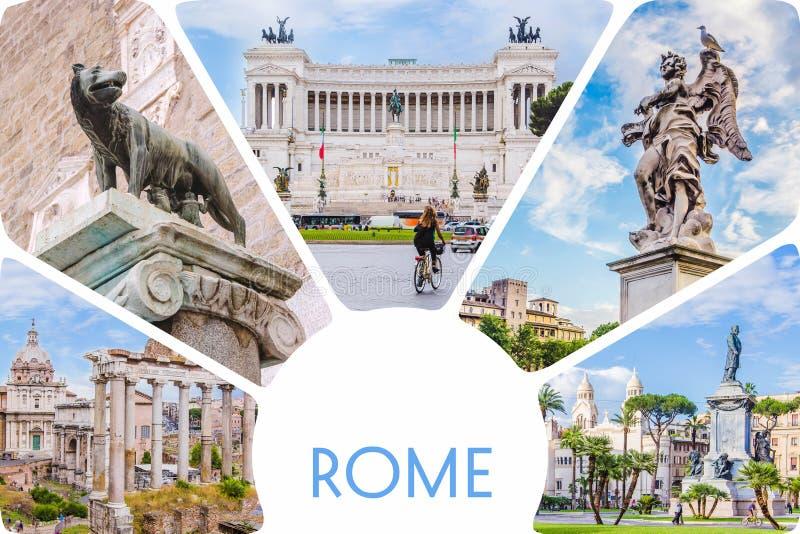 Κολάζ φωτογραφιών/σύνολο ηλιόλουστης Ρώμης - ρωμαϊκό φόρουμ, άγαλμα στη γέφυρα του αγγέλου Αγίου, κύρια έλξη Venezia πλατειών της στοκ εικόνα