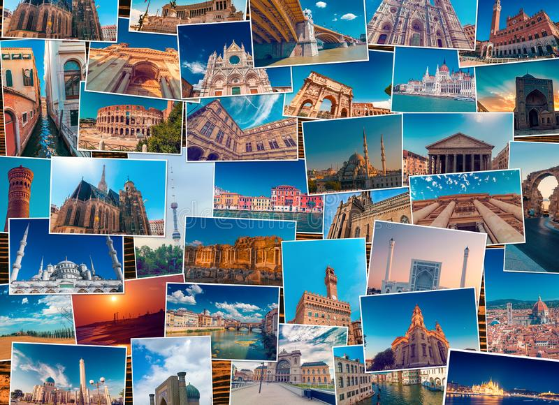 Κολάζ φωτογραφιών φιαγμένο από διαφορετικούς προορισμούς παγκόσμιου ταξιδιού στοκ εικόνες