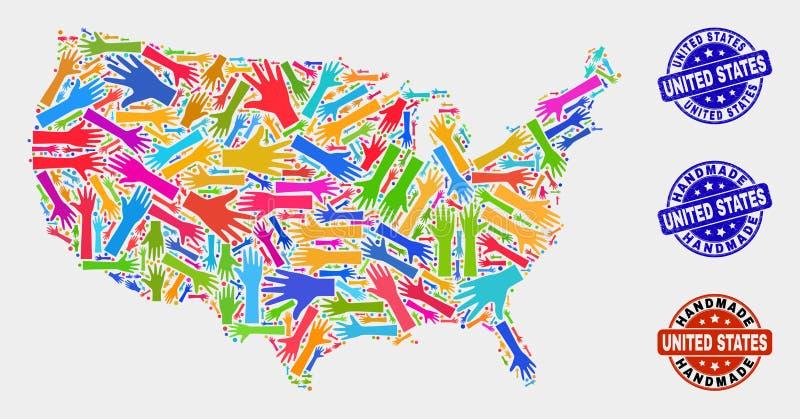 Κολάζ χεριών των χειροποίητων γραμματοσήμων Ηνωμένων χαρτών και Grunge διανυσματική απεικόνιση