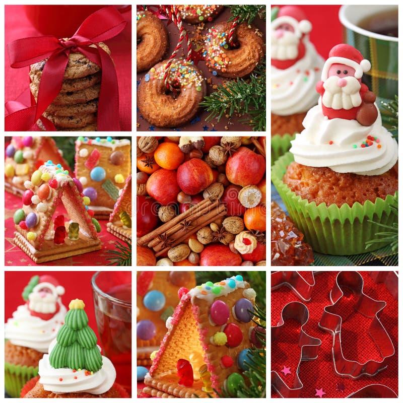 κολάζ Χριστουγέννων κέικ στοκ εικόνες με δικαίωμα ελεύθερης χρήσης