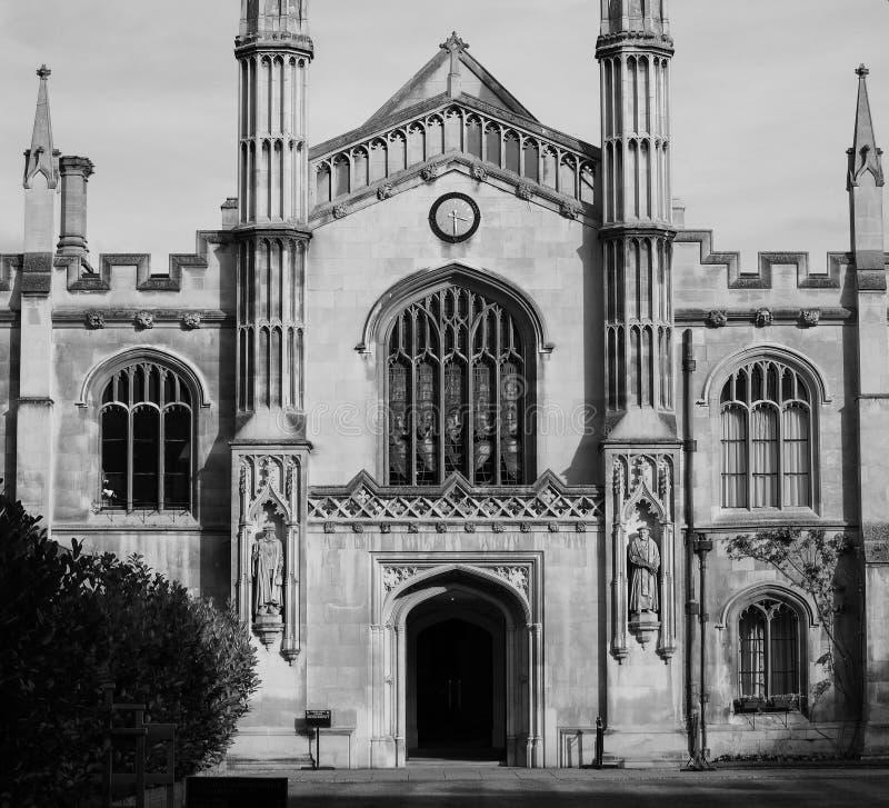 Κολλέγιο του Corpus Christi στο Καίμπριτζ σε γραπτό στοκ εικόνες με δικαίωμα ελεύθερης χρήσης
