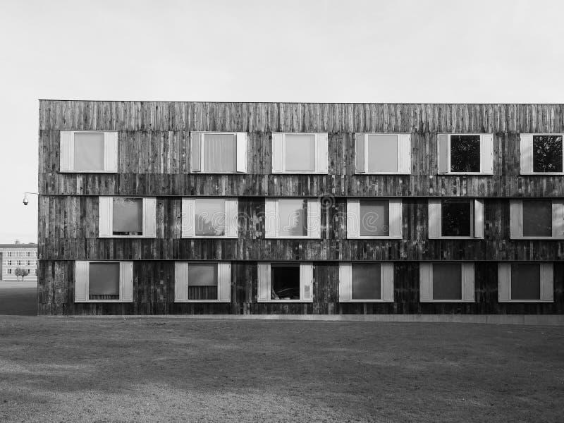 Κολλέγιο Churchill στο Καίμπριτζ σε γραπτό στοκ φωτογραφίες