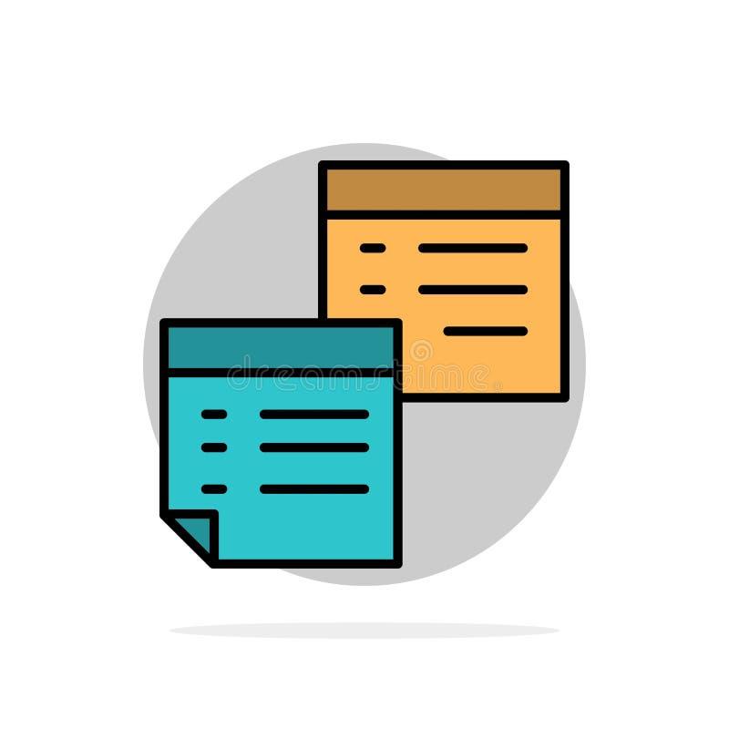 Κολλώδης, αρχεία, σημείωση, σημειώσεις, γραφείο, σελίδες, εγγράφου αφηρημένο κύκλων εικονίδιο χρώματος υποβάθρου επίπεδο διανυσματική απεικόνιση