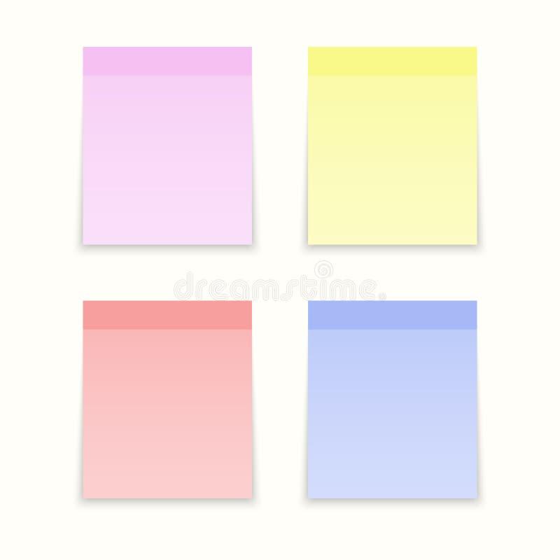 Κολλώδη χρωματισμένα σημειώσεις έγγραφα απεικόνιση αποθεμάτων