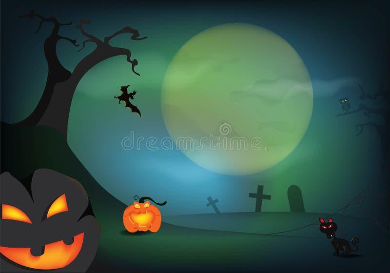 Κολοκύθα αποκριών και ένα νεκροταφείο με τη πανσέληνο στη σκοτεινή νύχτα, έννοια εορτασμού ημέρας αποκριών διανυσματική απεικόνιση