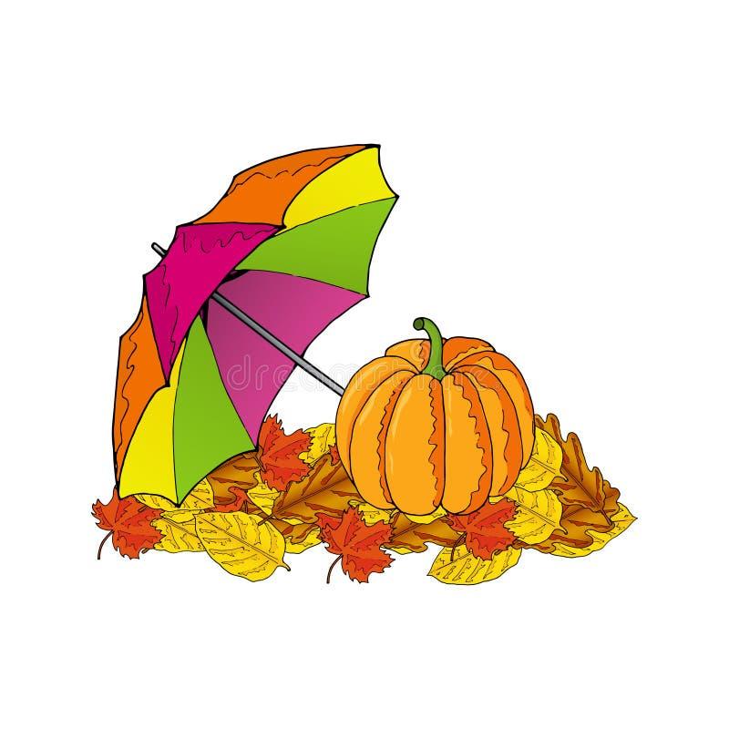 Κολοκύθα και ζωηρόχρωμη ομπρέλα στα φύλλα επίσης corel σύρετε το διάνυσμα απεικόνισης στοκ εικόνες
