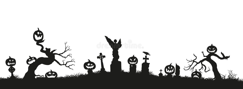 κολοκύθα προσώπων διακοπών αποκριών αποκοπών έξω Μαύρες σκιαγραφίες των κολοκυθών στο νεκροταφείο στο άσπρο υπόβαθρο διανυσματική απεικόνιση