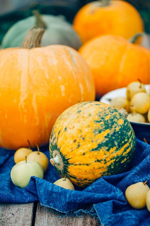 Κολοκύθες συγκομιδών φθινοπώρου, μήλα, αχλάδια σε μια μπλε πετσέτα, κινηματογράφηση σε πρώτο πλάνο στοκ εικόνες