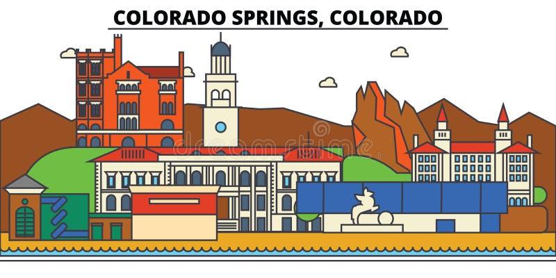 Κολοράντο, ανοίξεις Αρχιτεκτονική οριζόντων πόλεων διανυσματική απεικόνιση