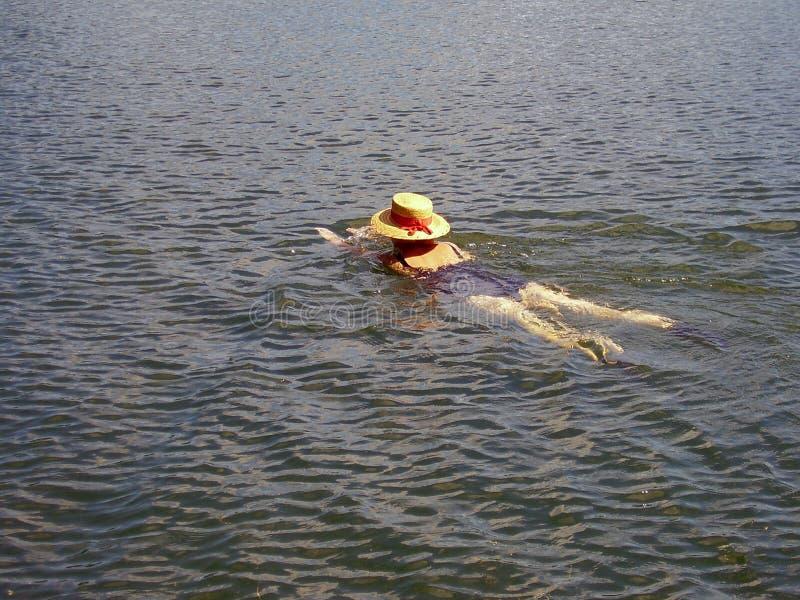 κολυμβητής καπέλων staw στοκ φωτογραφία με δικαίωμα ελεύθερης χρήσης