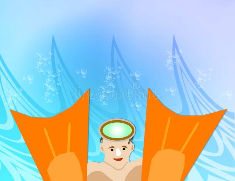 κολυμβητής πτερυγίων διανυσματική απεικόνιση