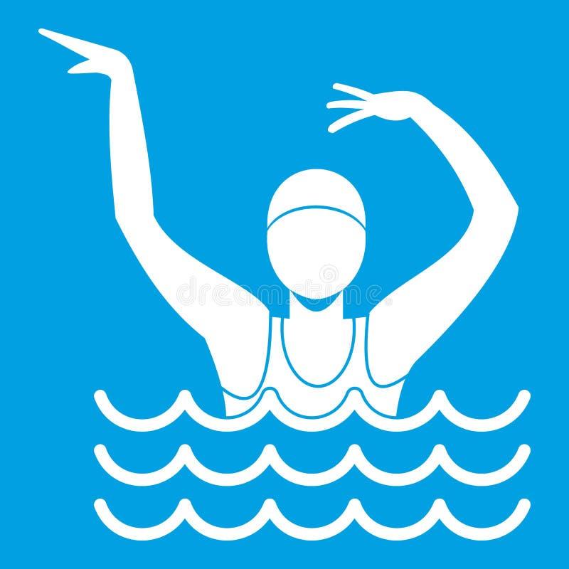 Κολυμβητής σε ένα λευκό εικονιδίων πισινών διανυσματική απεικόνιση